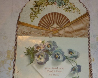 Unique Victorian Folding and Hanging Unused  Greeting Card With Pansies
