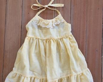 Vintage Yellow Gingham Toddler Halter Sun Dress 2-3T