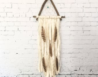 White Triangle Dream Catcher with Feathers