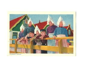 Volendam Postcard, Dutch Folk Costume, Collection Emna Serie 380 - 399, Holland Netherlands, Photochromism Color Card