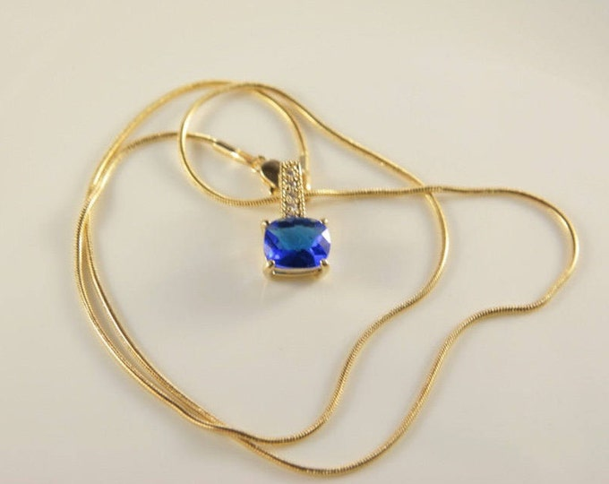 """Sapphire Necklace Blue Bridal Necklace Gold Plate Snake Chain 18"""" Long Wedding Flower Girl Gift SETA Jewellery Large Blue Crystal Gift"""