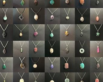 Wholesale Wire Wrap Stone Pendants Wholesale Wire Wrapped Stone Pendant Necklaces Bulk Lot