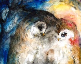 Summer Sale-Couple Painting Original Watercolor Painting Owls 16x12.5in