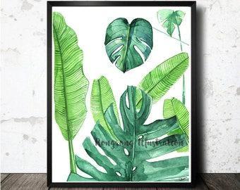 Palm leaf Illustration,Tropical leaf Poster, Watercolor leaf art,Banana Leaf Print,Natureart, Tropical Poster, Chic home decor