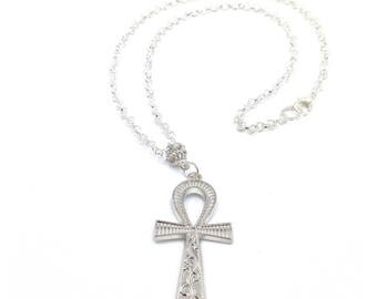 Silver Ankh Chain // Ankh Necklace // Egyptian Ankh Necklace // Unisex Silver Chain Necklace //