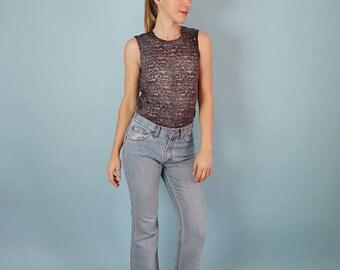 90s Dark Grey Floral Lace Tank/Semi Sheer Floral Top