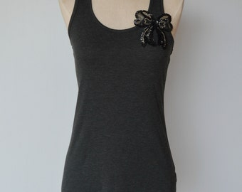 Black Beaded Bow Tank Top