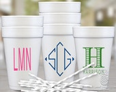 Monogram Foam Cups   Personalized Styrofoam Cup   Wedding Party Cups