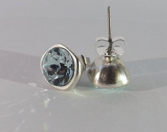 Handmade Sterling Silver Stud Earrings with Aquamarine Swarovski Crystal