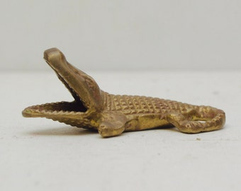 Vintage Brass Alligator Figurine; Incense Burner; Reptile Crocodile Everglades; FREE SHIPPING U.S.A.