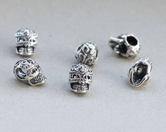 92.5 Sterling Silver Oxidized Skull Bead 8 x 11 mm. Celtic Skull Bead, Vintage Bead, Pack of 6 pieces, Wholesale silver findings.