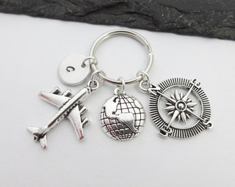 Travel Keyring, Compass Keychain, Plane Keyring, Initial Keyring, Travel Gift, Hand Stamped Keyring, Travel Gifts, Travel Keychain,Traveller