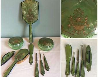 Vintage Celluloid Green Marbled 9 Piece Vanity  Set, Retro 9 Piece Vanity Celluloid Set.