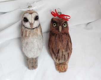 Fuzzy Felted Owl Christmas Ornaments, Needle Felted Owls
