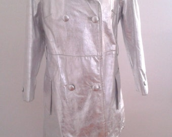 Vintage 1960's Silver Leather Double Breasted Coat Sz Small Med Mod Edie Sedgwick Andy Warhol