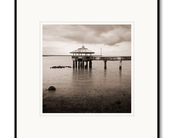 Black and white photography, sepia prints, Philippines, Cebu, Medellin, pier, Pacific ocean, clouds, tropical island, matted framed photo