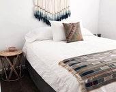 r e s e r v e d for Olivia || Brass + Indigo Dip Dyed Wool Roving Wall Hanging