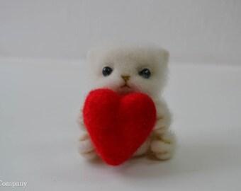 Needle felted kitten doll with red heart, Handmade fluffy white cat doll, Handmade gift for boy, Cat lover gift