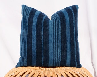 Indigo Striped Mudcloth Pillow Cover with Insert / 16x16 / Navy Blue