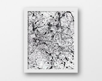 Drip Painting, Painted Print, Accent Art, Black White Prints, Bathroom Posters, Bedroom Minimalist, 18x24 Black White, Splash Paint, Pollock