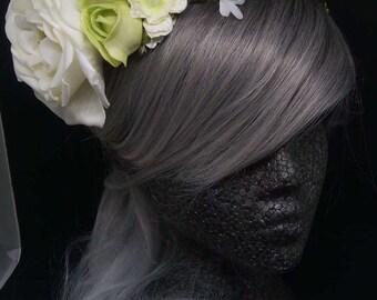 White & Green Berry Vine Crown, Bridal Crown,