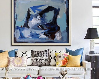 Large wall art, Acrylic Painting, Large Canvas Art, Living Room Wall Art, Blue black white Oil painting Abstract painting, Large canvas art,