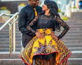 LUXURY Dashiki Engagement Couple Outfit High Low African Skirt and Matching Men's Tie Ankara Skirt Couple Clothing Plus Size Available