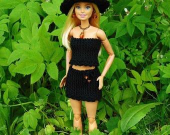 Barbie skirt and top, barbie doll outfit, barbie fashionista, barbie shirt, barbie clothes, barbie, clothing, crochet, barbie fashion, black