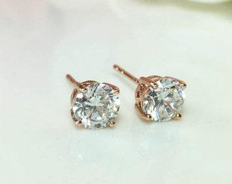 Rose Gold Diamond Earrings, CZ Diamond Earrings, Large Cubic Zirconia Stud,White Gold Diamond Stud, 5mm 6mm Diamond Stud Bridesmaid Earrings