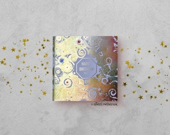 Happy Birthday Card - Gold foil Rainbow Card - Henna Paisley Card - Indian  Card - Hand Finished Card