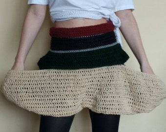 Handmade Short+Skirt Crochet handmade Pants Beige Black Red Green and White