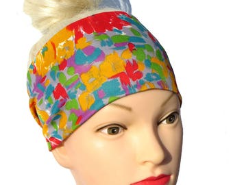 Impressionist Wide Headband multicolored Workout Headband Red Yellow Sport Head wrap Hairband colorful Yoga Bandana Impressionist Painting