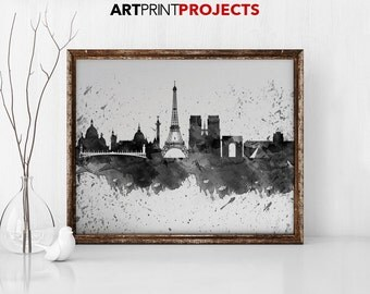 Paris art print, Paris watercolor skyline, poster, Art Print, Art, Canvas, Paris black & white print, Home Decor, Wall art, ArtPrintProjects