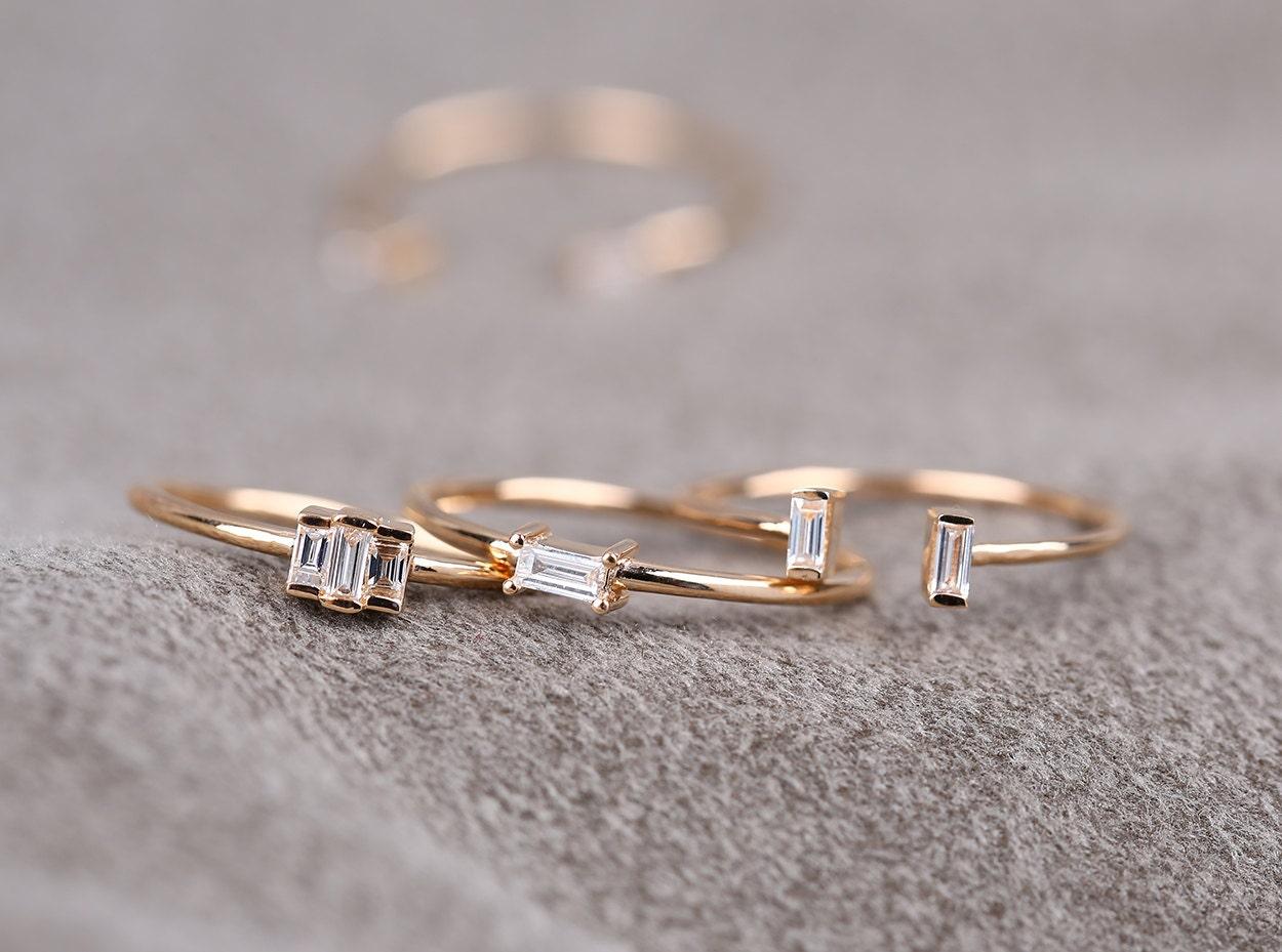 14k Baguette Diamond Ring/ Baguette Diamond Engagement Ring/ Minimalist Baguette Ring/ 0.10ctw Baguette Engagement Ring/ Stacking Ring
