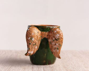 coffee mug, ceramic coffee cup, handmade ceramic pottery, Christmas gift, wings mug, green mug, stoneware, modern pottery, handmade mug