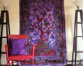 Boho room decor Purple Boho Decor, junk gypsy decor, Wall Tapestry, Large Wall Decor Hanging, Boho Yoga Decor, Bedroom Wall Art Tree of Life
