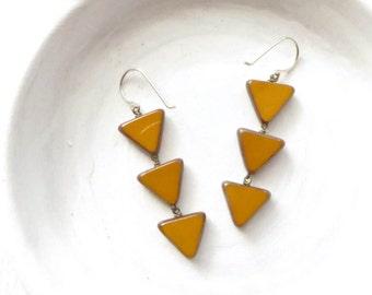 Tribal Earrings / Boho Earrings / Statement Earrings / Geometric Earrings / Triangle Earrings / Beaded Earrings / Boho Jewelry / Gift