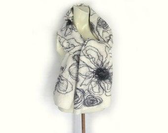 Felted Scarf, Felted Shawl, White Scarf, Evening Shawl, Wool Wrap, Black Off-White Scarf, Woman Scarf, Floral scarf, Spring Scarf, Eco Scarf
