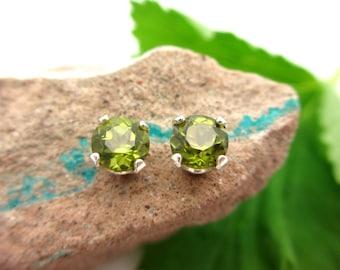 Vesuvianite Idocrase Studs - Genuine Vesuvianite Idocrase Stud Earrings, Real 14k gold, Platinum, or Sterling Silver - 5mm