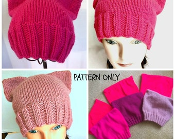 Cat Hat Kitty Hat PDF INSTANT DOWNLOAD diy knitting pattern Teen Women Adult sizes pussyhatproject pussyhat pussy hat project Worsted Weight