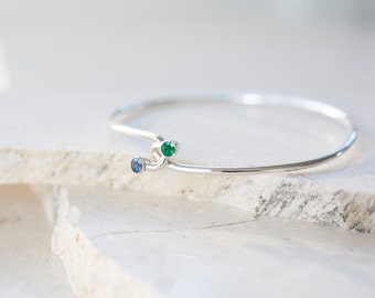 Hug Bangle - Emerald and Blue Saphhire Dual Stone Bracelet by Prairieoats