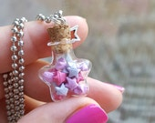 Miniature star bottle filled with paper origami stars - necklace