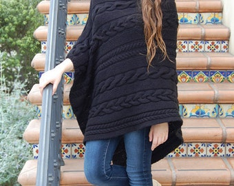 Dianne Cabled Poncho Pattern