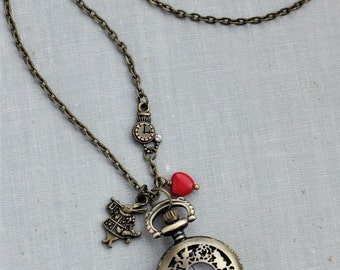Alice in Wonderland Pocket Watch Necklace in Antique Brass