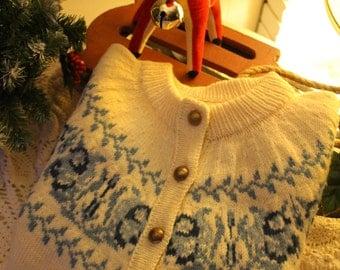 Vintage 50s Danish Wool Cardigan Sweater Cream with blue fair isle pattern Scandinavian sweater
