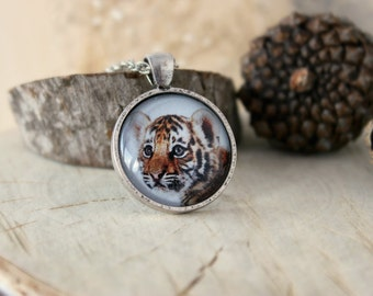 Baby Tiger Necklace, Antique Silver Tone Pendant, Glass Dome Pendant With Chain