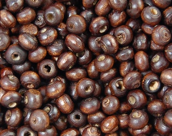 5x4mm Cocoa Brown Rondelle Wood Beads -500