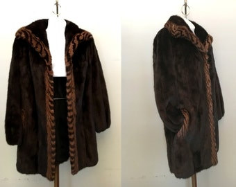 vintage 1980s Mink Stroller Jacket Coat Deep rich Chocolate Brown with Striped Mink Trim Size M or L Furs by Brandon