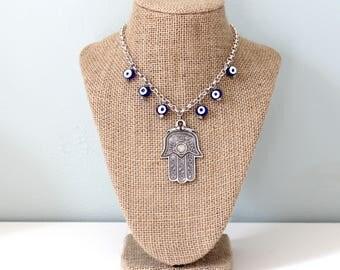 Hamsa Hand Necklace Large // Evil Eye Necklace Large // Unique Necklaces for Women // Chamsa // Khamsa // Bazaar Jewelry // Lucky Eye