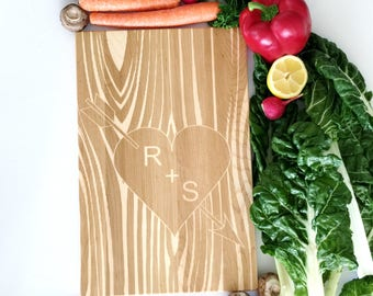 Custom Wooden Cutting Board. Carved initials on Tree. Personalized Anniversary Present, Engagement gift.